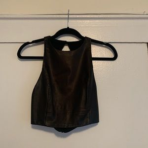 Alice + Olivia black Leather Crop Top size small